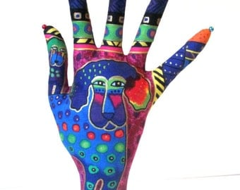 Laurel Burch Signature Dogs n Doggies Fabric POPULAR Style HAND-Stand Glasses Jewelry Display