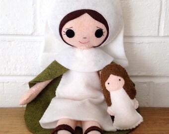 Catholic Toy Doll - St. Anne - Wool Felt Blend - Catholic Toy - Felt Doll