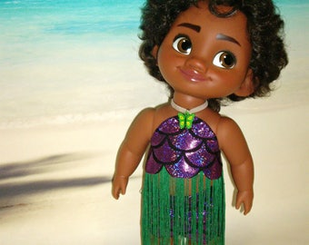 "Handmade Doll Clothes ""Aloha Summer!"" Purple Metallic Mermaid Scale Top, Skirt for 15"" Disney Toddler Moana Doll, by traveller240"