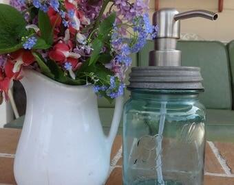 Vintage mason pint jar soap & lotion dispenser ball light blue stainless finish pump Industrial
