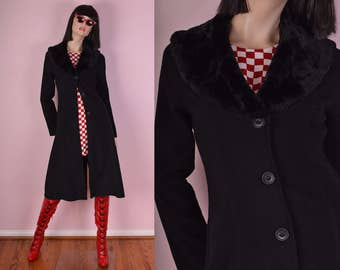 90s Black Faux Fur Collar Coat/ Small/ 1990s/ Jacket