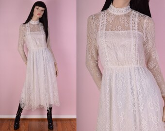 70s 80s Ivory Floral Lace Dress/ Small/ 1970s/ 1980s/ Vintage/ Wedding/ Bridal/ Long Sleeve/ High Neck