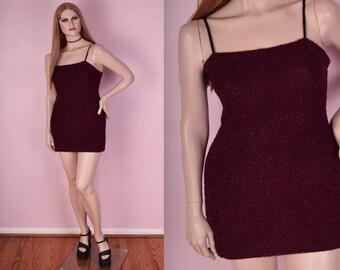 90s Fuzzy Sparkly Bodycon Mini Dress/ Large/ 1990s/ Club/ Party