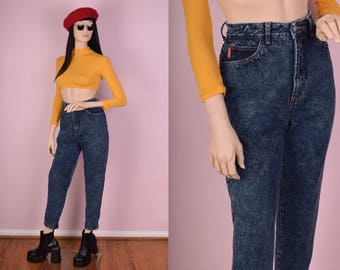 90s Stone Wash High Waisted Jeans/ 27.5 Waist/ 1990s/ Mom Jeans/ Pants/ Denim