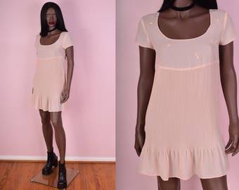 90s Light Pink Floral Dress/ Medium/ 1990s/ Short Sleeve