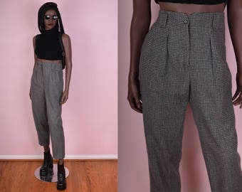 90s High Waisted Gingham Trousers/ 28 Waist/ 1990s/ Pants