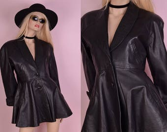 80s Black Leather Coat/ Small/ 1980s/ Jacket