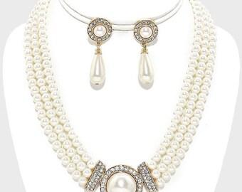 Bridal jewelry set, Bridal choker necklace earrings, pearl Wedding choker, Ivory Victorian pearl jewelry set, bridesmaid jewelry set