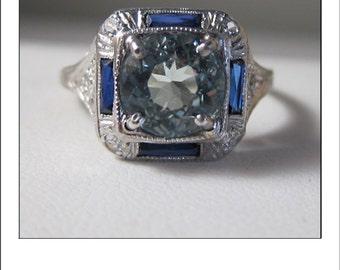 Art Deco Antique Platinum Large AquaMarine Diamond Sapphire Baguette Ring