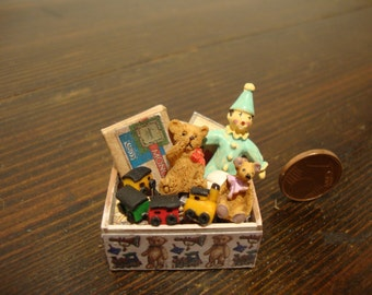 dollhouse miniatures, wooden crate, in mahogany wood,  with,  toys