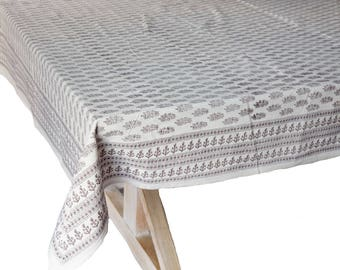 """Hand Block Printed Tablecloth - Istanbul Booti - 55"""" x 87"""""""