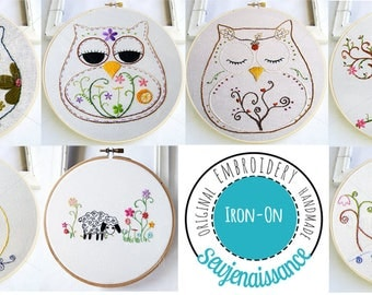 IRON-ON transfer embroidery patterns,   iron on patterns, embroidery patterns,  hand stitching,