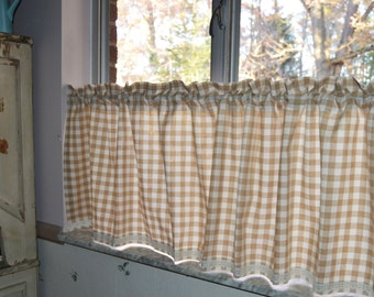 Cafe Curtain . Tan and Cream Gingham with Crochet Trim . Gingham Tiers .  Handmade by Pretty Little Valances