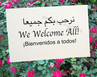 DIGITAL DOWNLOAD: Welcome Sign in Arabic, English and Spanish