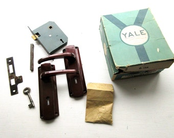 Vintage Mid Century Yale Lock with Handles, Key, Original Box etc.