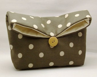 Foldover clutch, Fold over bag, clutch purse, evening clutch, wedding purse, bridesmaid gifts - Polka dots on gray (Ref. FC54 )