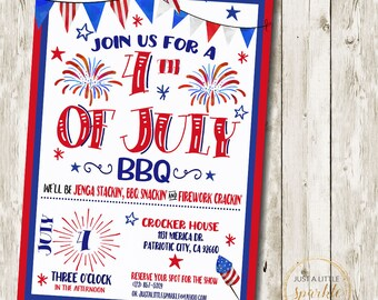 4th of July invitation, digital fourth of july invitation, Fourth of July invite, 4th of July invite