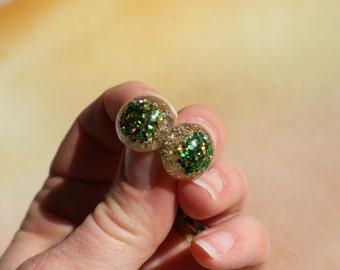 "Green Glitter Safety Eyes ""Leprechaun's Luck"", Hand Cast- 6mm, 8mm, 9mm, 12mm, 14mm, 15mm, 16mm, 18mm, 20mm, 24mm"