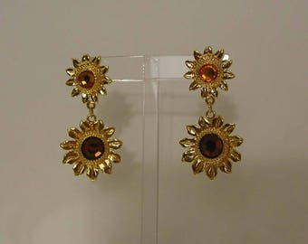 Gold Tone Amber and Topaz Sunflower Flower Dangle Clip Earrings