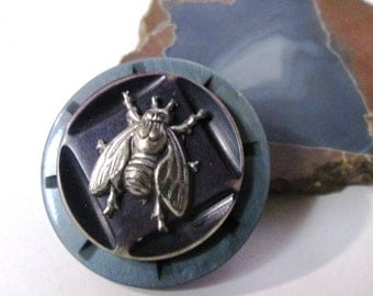 Vintage Button Pin/Pendant:  I Spy, Said the Fly