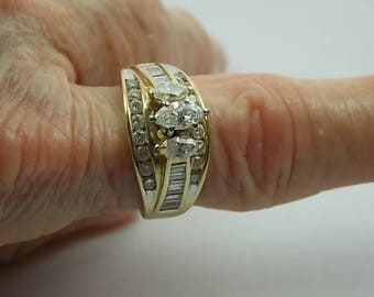 Marquise Diamond 3-Stone Ring 2Ct Total Yellow Gold 14K 8.2gm Size 7.75 ZEI Cigar Band