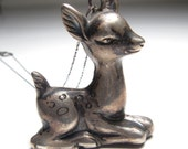 Vintage Sterling Silver Deer Fawn Necklace Repurposed Baby Rattle Mom To Be!