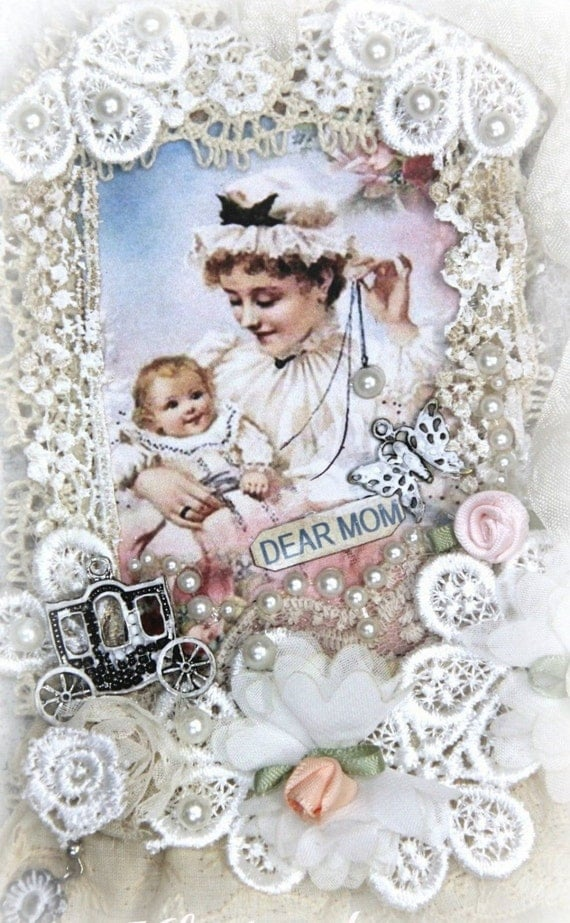 Vintage Antique Mother Playing with her Baby - Lace Tag, handmade art tag, Gift Tag, Gift Tag ,Mixed Media Tag, Lace Tag, handmade  art tag,