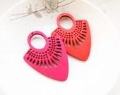 Dyeing Series - 39x 54mm  Filigree Red / Hot Pink Fan Shape Geometrical Wood Dangle/ Wooden Charm/Pendant / Wood earrings NM135