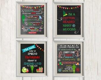 8x10 Buddy the Elf Christmas Printables - Set of 4 | Christmas Decor - INSTANT DOWNLOAD