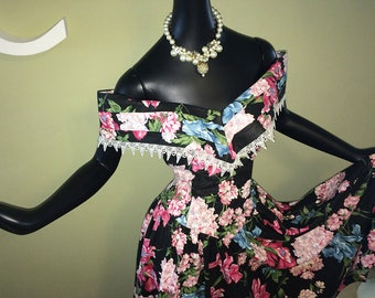 "Rockabilly vintage 80s does 50s ""Garden Party"" Dress! 1980s 1950s Style Black Floral Sexy Off Shoulder Circle Skirt Gladiolas Flowers EXPO"