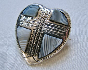 Antique Victorian Scottish Montrose Blue Agate Sterling Silver Christian Cross Brooch Pin