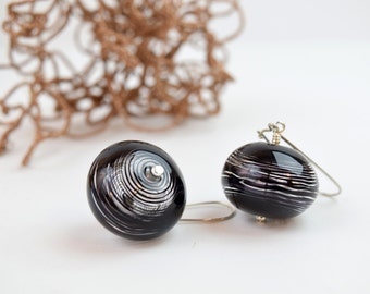 Valentine's gift for her Black striped earrings black lampwork earrings hollow bead earrings black glass earrings drop earrings artisan gift