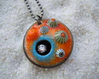Orange and Blue Barnacle Pendant Artisan Jewelry