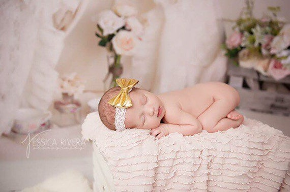 Gold fabric bow on ivory stretch lace, bebe foto, newborn, photography prop, by Lil Miss Sweet Pea