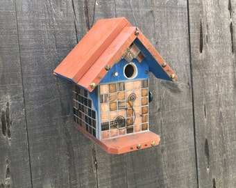 Rustic Wood Birdhouses Functional Bird House Garden Art Decor Blue & Rust Handmade Glass Mosaic Birdhouse, Item #474405616