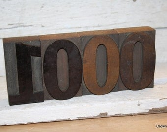 Vintage Letterpress Numbers - Vintage Printing Decor - Wooden - 1000