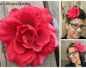 Rosy red rose hair flower clip, upcycled, repurposed, big hair