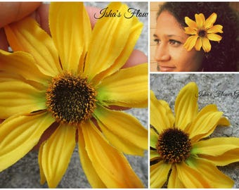 Black-eyed Susan hair flower clip, yellow hair flower, wildflower, rudbeckia hair flower, yellow daisy hair flower