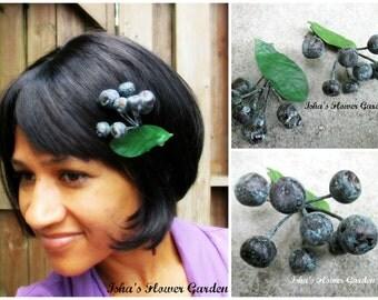 Realistic blueberry hair clip, OOAK, blueberries hair flower, blue berry, barrette