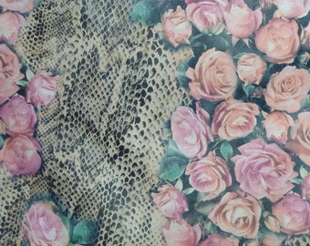 """RESTOCKED Leather 12""""x12"""" ROSES over NATURAL Snake Cowhide 2.5-3 oz / 1-1.2 mm PeggySueAlso™ E5400-03"""