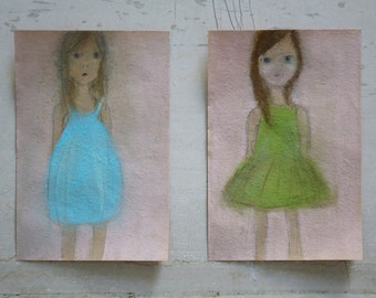 Girl Pastel Drawing -- Little girl with turquoise summer dress -- Original Pastel Drawing on delicate paper -- Small format fine art