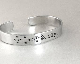 Inspirational Bracelet - Fly - Hand Stamped Aluminum Cuff - Fly Like A Bird