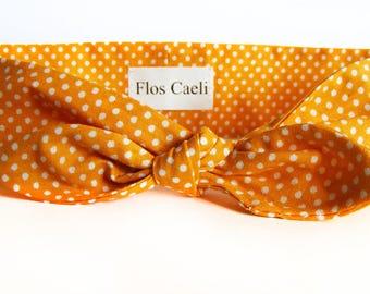 Mustard Yellow Polka Dot Headband - Hair Scarfs - Retro Headbands - Hair Accessories