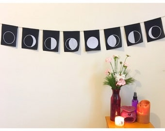 Black Moon Phase Flags, Glow in the Dark