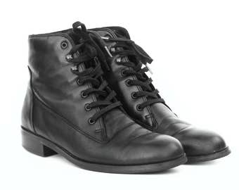 Black Leather Ankle Boots 6M
