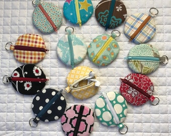 Adorable Round Earbud Pouch Key Rings! Many Patterns to Choose From!