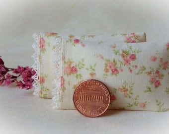 "Miniature Pillows ""Counry Roses"", Set of 2 Pillows with tiny pink roses, French lace detail - 1:12 scale"