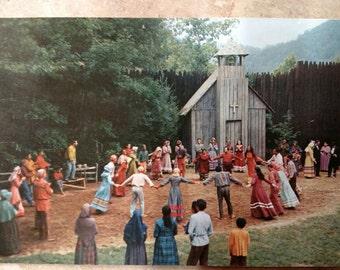 Unto These Hills Cherokee, North Carolina vintage 1956 post card