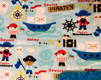 Minky Blanket Pirate Print Minky with Turquoise Dimple Dot Minky Backing - Perfect Size a Toddler or Child