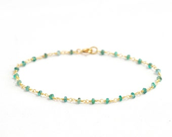 18K Gold. Emerald Bracelet in 18K Yellow Gold , Natural Zambian Emerald Gold Bracelet, May Birthstone Jewelry, Gift for Her, 18KYG